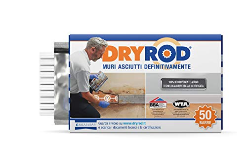 Dryrod, Scatola da 50 barre. Barre impermeabilizzanti per il trattamento fai-da-te di umidità di risalita capillare. Certificato WTA.