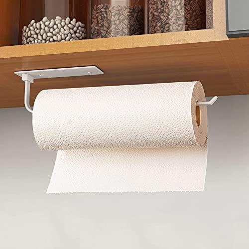 Portarrollos de papel de cocina, sin taladrar, autoadhesivo, práctico soporte para rollos bajo el armario, tanto en pegamento como en tornillos.