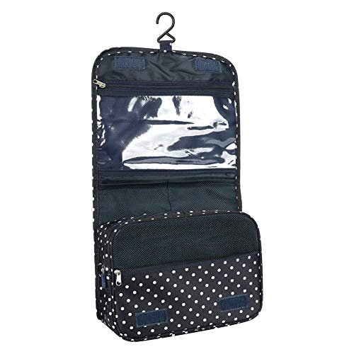 Hanging Toiletry Bags Portable Travel Makeup Comestic Organiser Folding Travel Wash Bag for Women Girls Kids Travelers Waterproof with Multi Pockets (Black)