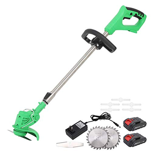 MAXMAN 47 inch Cordless String Trimmer,21V Lithium Battery Garden Grass Trimmer, Suitable for Lawn Garden Pruning/Trimming. Telescopic Rod and Adjustable Machine Head Includes 2 Batteries