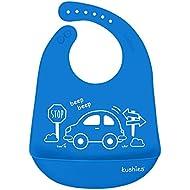 Kushies Silicatch Super Soft Silicone Waterproof Feeding Bib with Catch All/Crumb Catcher, Azure Blue, 6m +