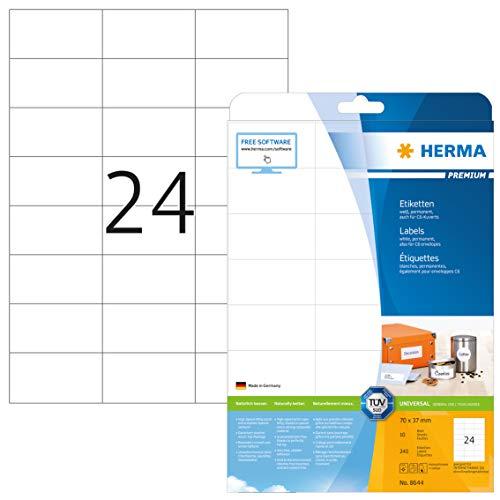 HERMA 8644 Adressaufkleber DIN A4 (70 x 37 mm, 10 Blatt, Papier, matt) selbstklebend, bedruckbar, permanent haftende Universal Etiketten, 240 Klebeetiketten, weiß