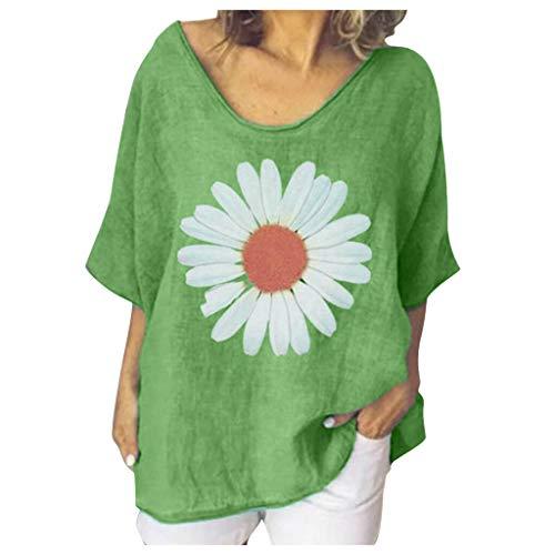 CixNy Frauen Kurzarm O-Ausschnitt Casual Loose Tops Damen Baumwolle Leinen Shirts Bluse (Grün, XXXL)