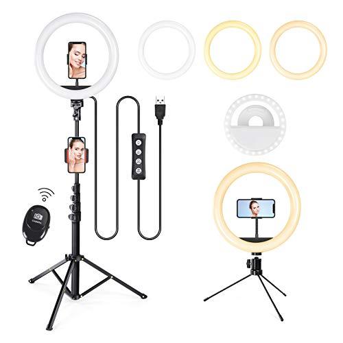 10'' LED Ringleuchte mit Stativ, LED Selfie Ringlicht mit Stativständer & Handyhalter mit Fernbedienung, 3 Farbe und 10 Helligkeitsstufen, Live Licht für YouTube-Videoaufnahmen, Tiktok, und Fotografie
