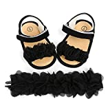 2 Sandalías de Bebé + Diadema de Flores para Niña Zapatos Antideslizantes Elegantes Zapatos de Verano para Primera Infancia de 0 a 18 Meses Cumpleaños Bodas Ceremonias Princesas (Negro, 0-6 Meses)