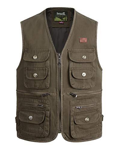 Daoba Herren Funktionsweste Multi-Taschened Weste Freizeit Jacke mit Reißverschluss Jagd und Angler Fotografie Wandern Weste Camping Vest