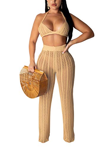 Women Two Piece Outfits Hollow Out Knitted See Through Halter Crop Top Long Pant Set Bikini Cover Up Khaki Medium