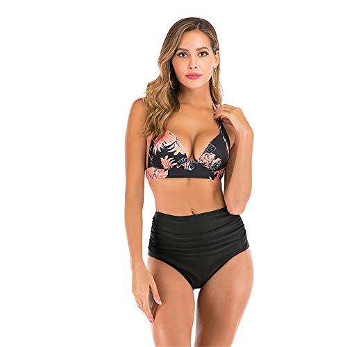 Sunlisky Traje de Baño de Una Pieza Traje de Baño Copas Mujer Halter Elegante Trajes de Baños para Mujer Alta Cintura Push Up