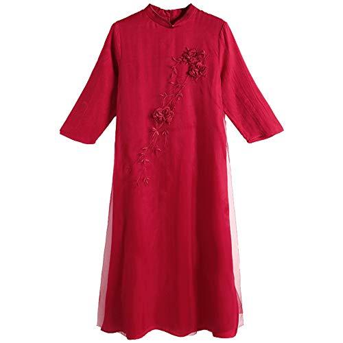 BINGQZ 2019 lente nieuwe katoen en linnen jurk vrouwelijke kleine geur jurk gesp midden lange cheongsam rok