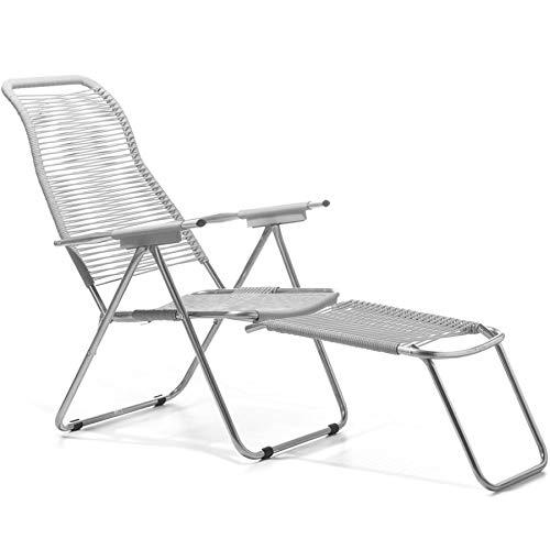 Spaghetti Fiam Liegestuhl Art. 084 Bi Aluminium verchromtem Rahmen Sitz und Rücken Weiß Farbe