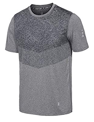 Little Donkey Andy Men's Quick Dry Sweat Wicking Stretch Short Sleeve T-Shirt UV Protection Workout Running Hiking Tee Heather Grey L