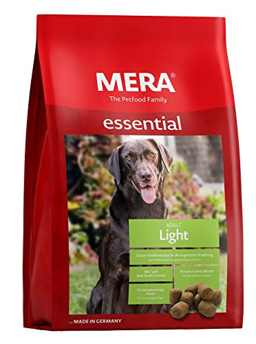MERA essential Hundefutter > Light < Für übergewichtige Hunde - Geflügel Trockenfutter mit geringerem Fettanteil - Ohne Weizen & Zucker (12,5 kg)