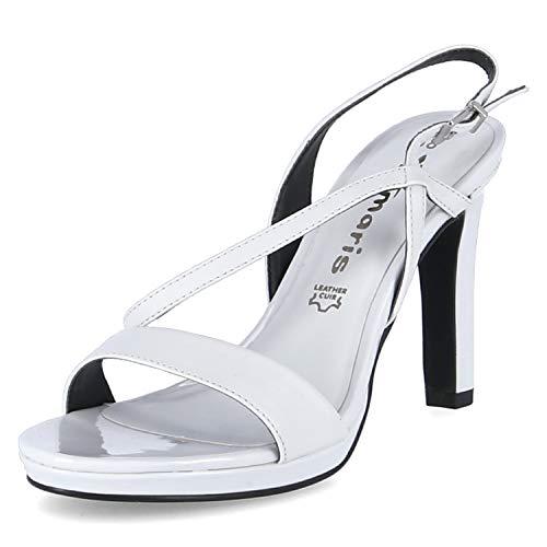 Tamaris Damen 28077-34 Sandale mit Absatz, White, 40 EU