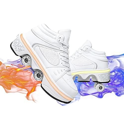 FFKL Mujeres Hombres Luces Luces Zapatillas De Deporte High Top Tops Flashing Transports USB Cargando Cable De Encaje Arriba Zapatos,White-41