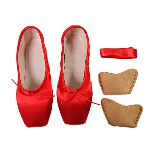 DoGeek Spitzenschuhe Ballet für Damen/Mädchen mit Spitzenschuhe Unsichtbares Band, Gr.-35 EU, Rot