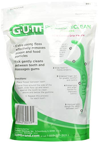 Gum Eez-Thru Flossers Mint, 90 count (Pack of 3) by GUM