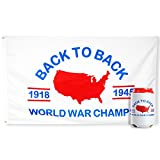 bA1 Outdoor Back to Back World War Champs Flag (Authentic) + Free Coozie - Cool Funny Patriotic Banner for College Dorm or Man Cave Poster - 3x5 FT