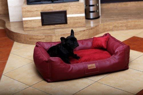 tierlando® Maddox VIP Hundebett Hundesofa Velours/Leder S - XXL 70-150cm Größe: MA3-AL 80cm | Farbe: 04 Bordeaux