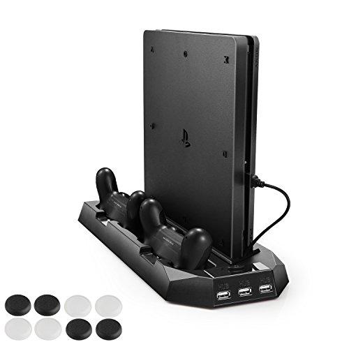 新型PS4スリム ps4 両用 縦置きスタンド PECHAM ファン付 コントローラ2台充電 USBハブ3ポート 1年保証 ブ...