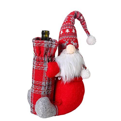 Juego de botella de vino reutilizable de Navidad con diseño de muñeco sin rostro, bolsa de vino tinto de Papá Noel, para el hogar, fiesta temática de Navidad