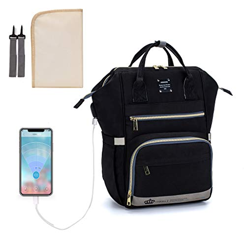 Lowral Multifunctional, Baby Diaper Mummy Backpack, Large Capacity USB Nappy Bag Handbag