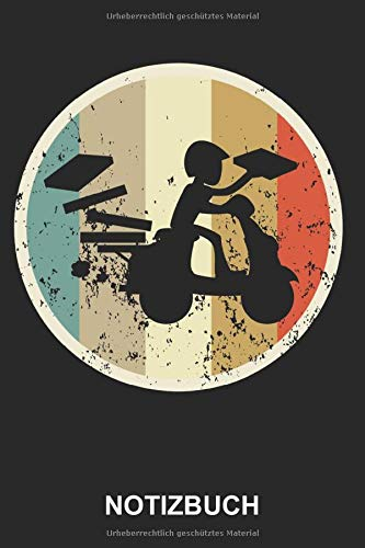 Notizbuch: Pizzabote Pizza Lieferant Pizzafahrer Pizzalieferant Motorrad Pizzalieferdienst Beruf Pizzeria | Retro Vintage Grunge Style Tagebuch, ... | ca. A5 mit Linien | 120 Seiten liniert