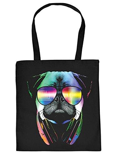 Mops-Spaß/Fun-Tasche/Stofftasche/Beutel Neon-Druck: DJ Pug - tolles Geschenk