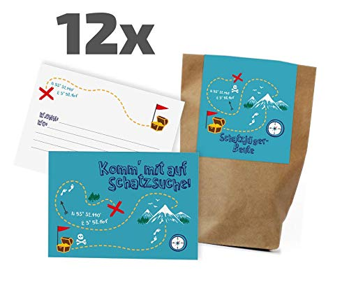 12x Schatzsucher Einladungskarten + Partytüten - Set zum Kindergeburtstag / Mitgebseltüten / Geschenktüten / Giveaways / Schnitzeljagd / Geburtstagseinladungen / Einladungen / Geburtstag / Set