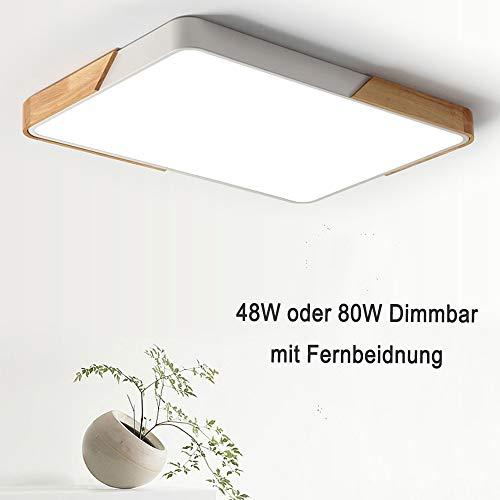 48W LED Deckenleuchte Rechteckige Deckenlampe dimmbar mit Fernbedienung LED Flurlampe Küchelampe Wohnzimmer Schlafzimmer Büro (Holz & Metall)