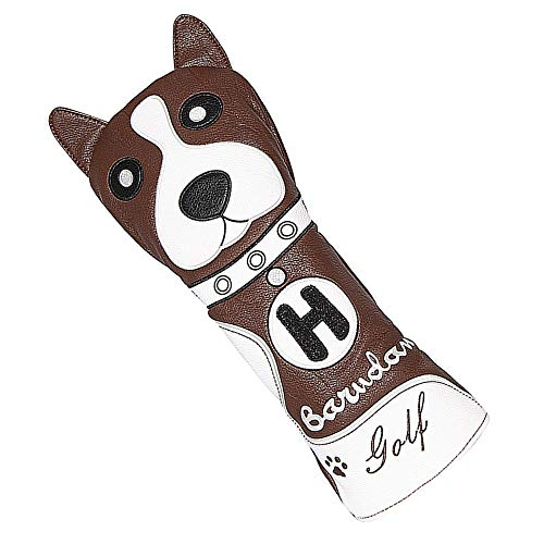 barudan golf Funny Boston Dog Rescue Wood Cover Headcover Hybrid Utility UT Club Protective with Exchangeable Number Tag for Callaway Taylormade Titleist PXG Synthetic Leather Well Made Brown