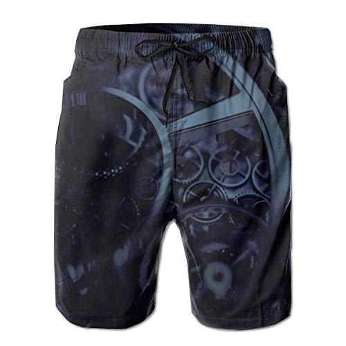 LREFON Pantalones Cortos de Playa para Hombre de Secado rápido Reloj Oscuridad Forro de Malla Surf Bañadores con Tasche 2XL