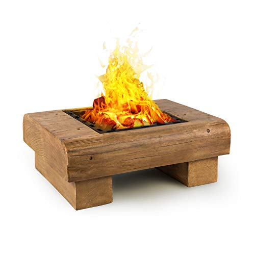 blumfeldt Lombardia - Fire Bowl, 40x40 cm Grill Grate, BBQ Pit, Spark Protection, Magnesium Oxide Artificial Stone MagicMag, Safe and Firm Stance, Including Spark Catch and Poker, Wood Look