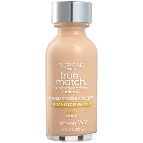 Price comparison product image L'Oreal Paris Makeup True Match Super-Blendable Liquid Foundation,  Light Ivory W2,  1 Fl Oz,  1 Count