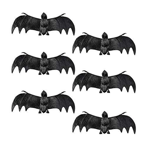 Set 6 pipistrelli finti (4 x 12 cm) , nero