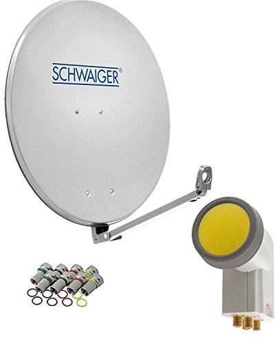 SCHWAIGER -4593- Sat Anlage, Satellitenschüssel mit Quad LNB (digital) & 8 F-Steckern 7 mm, Sat Antenne aus Aluminium, Hellgrau, 88 x 88 cm