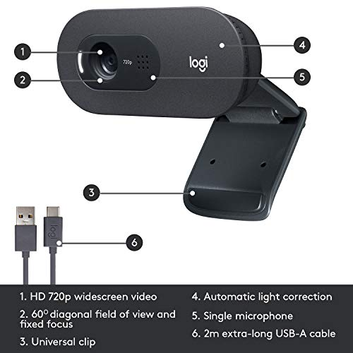 Logitech C505 HD Webcam - 720p HD External USB Camera for Desktop or Laptop with Long-Range Microphone, Compatible with PC or Mac - Grey
