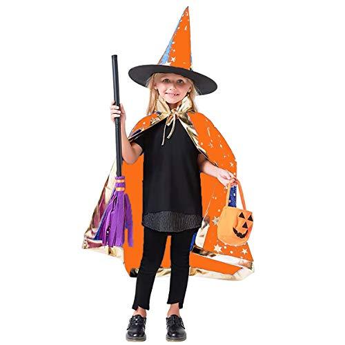 Capa y Sombrero de Halloween para niños Disfraz de Cosplay Sombrero de Capa de Bruja Disfraz de Fiesta de Halloween