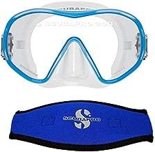 Scubapro Solo Scuba Snorkeling Dive Mask, (Blue) w/Mask Strap Cover & Escape Semi-Dry Snorkel