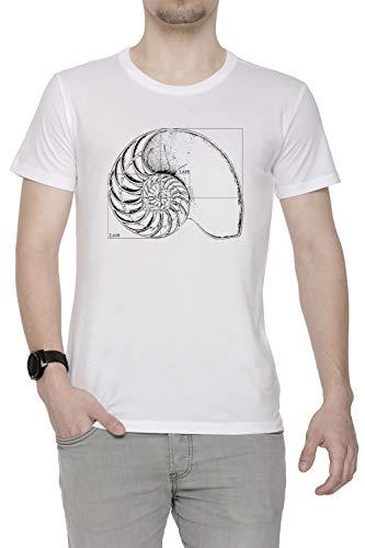 Erido Fibonacci sur Une Nautile Coquille Homme T-Shirt Cou D'équipage Blanc Manches Courtes Taille XXL Men's White T-Shirt XX-Large Size XXL