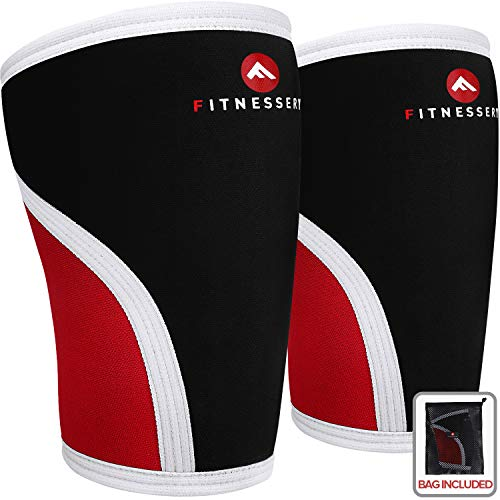 Knee Sleeves for CrossFit, Powerlifting, Weightlifting and Knee Support - 7mm Knee Sleeves - Knee Sleeves CrossFit - Knee Sleeves Powerlifting - Knee Compression Sleeve x 2 (Medium)