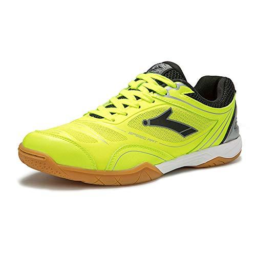 FJJLOVE Los Hombres de bádminton Zapatos, Zapatillas de Deporte de los Deportes Profesionales Ligera Zapato atlético Calzado Transpirable Zapatos Tenis Mesa de Ping Pong,Verde,44