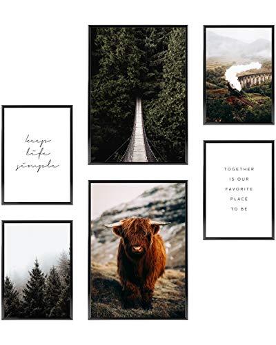 Heimlich® Premium Poster Set | OHNE Bilderrahmen | Stilvolles Set mit passenden Bilder als Wohnzimmer Deko | 2 x DIN A3 & 4 x DIN A4 - ca. 30x42 & 21x30 | » Highland Forest «