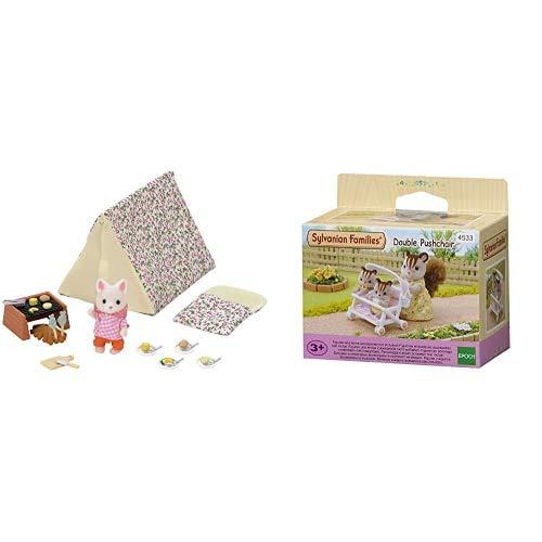 Sylvanian Families- Seaside Camping Set Mini muñecas y Accesorios, Multicolor (Epoch para Imaginar 5209) + - 5221 - Set Trona de bebé