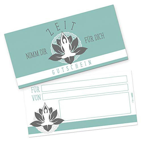 itenga Geschenkgutschein Verpackung I Geschenkkarte I Motiv Wellness Yoga I Gutschein I 21,0 x 10,5 cm I Postkarte zum Ausfüllen