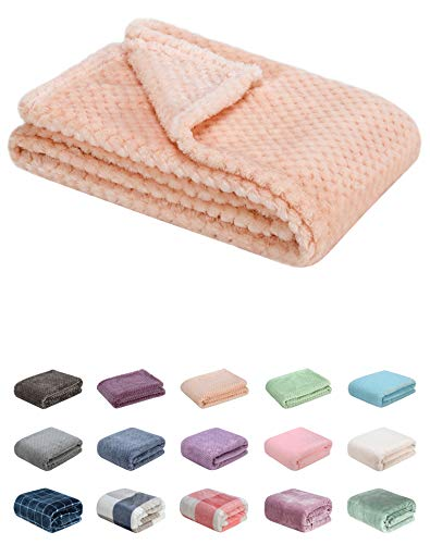 Fuzzy Blanket or Fluffy Blanket for Baby Girl or boy, Soft Warm Cozy Coral Fleece Toddler, Infant or Newborn Receiving Blanket for Crib, Stroller, Travel, Decorative (28Wx40L, XS-Peach)