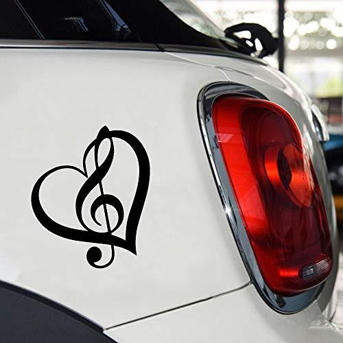 autoaufkleber Violinschlüssel Herz Vinyl Aufkleber Aufkleber Fenster Musik Symbol Gitarre 12X10 Cm