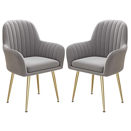 2PCS Dining Chairs Sturdy Golden Steel Legs Leisure Armchair Thick Fabric Upholstered Seat Counter Lounge Living Room Corner Chair (Color : Gray)
