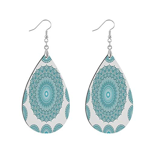 Boho Ethnic Turquoise Mandala Drop Dangle Earrings for Women Girls Jewelry Fashion, Teardrop Waterdrop Earrings for Christmas Valentine Birthday Party Gift, 1 Pairs