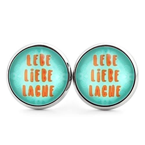 SCHMUCKZUCKER Damen Edelstahl Ohrstecker Spruch Lebe Liebe Lache Ohrringe Türkis Orange 14mm