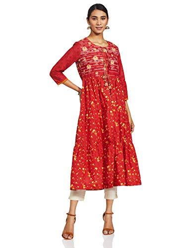 Biba Women's Cotton Anarkali Salwar Suit (Skd5027_Yellow_36, Yellow, L)